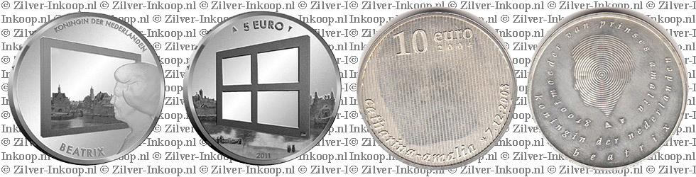 Zilveren 5 & 10 Euro Munten