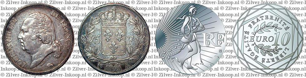 Zilveren Franse Francs & Euro