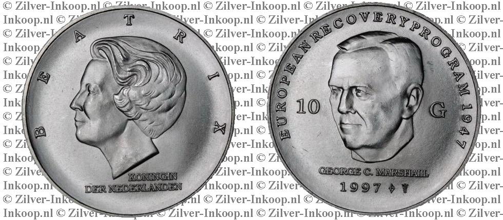 Zilveren Tien Gulden Munt Beatrix